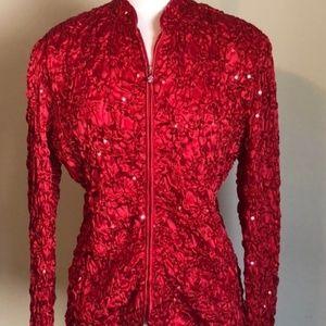 MSK XL Red Sequin Pucker Zip Up Jacket